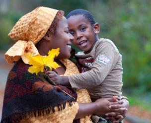 Vluchtelingen in Nederland: moeder en zoon